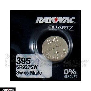 1X Rayovac 395 Batería Óxido Plata 1.55V 399 SR927SW SR57 Relojes Suizo