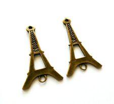 2 Large Eiffel Tower Pendants Antiqued Bronze Paris Connector Links 45mm Charms