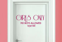 girls only no boys allowed except dad room door Wall Stickers Vinyl Art Decals