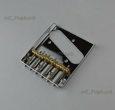 Telecaster Vintage Style Chrome 6 Brass Saddle Bridge For Tele Electric Guitar