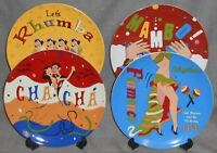 Set (4) Pottery Barn THE DANCE PATTERN Dinner Plates GREAT GRAPHICS!