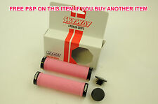 PAIR SKYWAY TUFF BMX BIKE CYCLE DOUBLE LOCKING HANDLEBAR GRIPS IN PINK