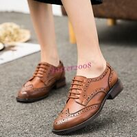 Retro Fashion Women's Faux Leather Oxfords Brogue Lace Up College Students Shoes