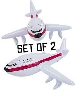 """(Set Of 2)  22"""" White Jet Plane Inflatable Airliner Inflate Toy Party Decoration"""