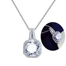 Fashion Women 925 Silver Square Clavicle Chain Cubic Zirconia Pendant Necklace