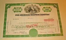 Common Stock PAN AMERICAN SULPHUR COMPANY  1973  DA 100 SHARES