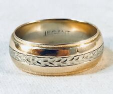7.6mm Wide Wedding Band Ring Sz 10.5 Vintage 14k Two Tone Yellow And White Gold