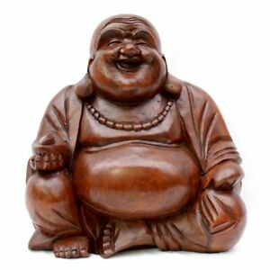 Happy Buddha Wood Carving Statue Laughing Genuinely Handcarved Monk V Large Gift