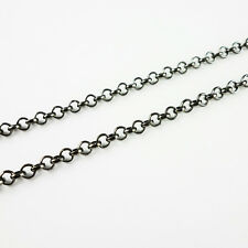 2, 5 or 10m Black Plated Gunmetal Iron Rolo Belcher Chain 3x1mm