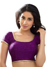 Purple Polyester Silk Blouse Top Choli Dress Bollywood Wedding Saree Belly Dance
