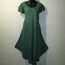 Dress Fit 1X 2X 3X 4X Plus Long Green Embroider Cotton A Shaped Sundress NWT 900
