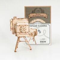 Rolife 3D Wooden Puzzle Vintage Camera Penholder Toy Gift for Girls Kids Girls