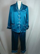 LILYSILK 22 Momme Chic Trimmed Silk Pajamas Set Blue-Green 100% Silk Women's XS