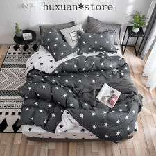 2019 Autumn grey star bedding set Pastoral style cover  leopard bed set AB side