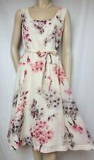 Laura Ashley Kleid 42 Seide Baumwolle Blumen creme rosa Hochzeit Cocktail Sommer
