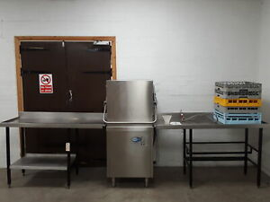 ClassEQ Hydro 857 Pass Through Commercial Dishwasher + 2 Tables & Baskets