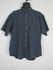 be38540ef5a Van Heusen Mens Cotton Blend Blue Plaid SS Button Down Shirt sz L 16-16