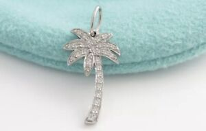 Tiffany&Co. Platinum 950 Diamond Palm Tree Pendant Necklace 16""