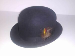 Vintage The Foreign Stetson Fur Felt Hat Derby Style Black Side Feather