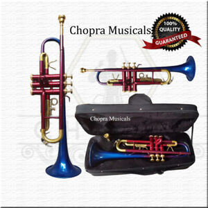 Trumpet Bb Pitch MULTI Colored With FREE Hard Case And Mouthpiece,SHIPPING FREE