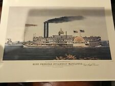 Currier Color Reprint HIGH PRESSURE STEAMBOAT MAYFLOWER