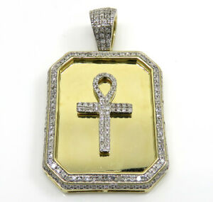 Men's 14k Yellow Gold Plated 1.3 ct Round Simulated Diamond Dog Tag Ankh Pendant