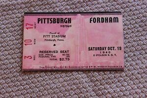 1940 (Oct. 19) U. of Pittsburgh v. Fordham U. college football ticket stub