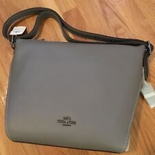 COACH Women's Dufflette Leather Hobo Crossbody Bag (DK/Heather Grey) Retail $350