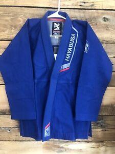 Hayabusa Top/bottom Pro Lightweight Jiu Jitsu Pearl weave Cotton Gi Blue 350gsm
