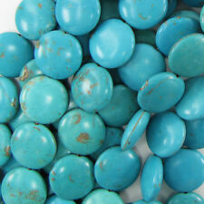 "25mm blue turquoise coin gemstone beads 16""strand"