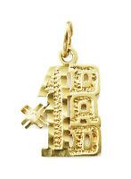 10k Yellow Gold Diamond Cut #1 Dad Charm Necklace Pendant ~ 1.0g