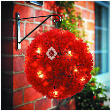 Artificial Rose Flower Red Topiary Ball Decorative Hanging Outdoor Solar Powered