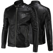Men's Fashion Large Size Simple Motorcycle Collar Leather Coat Jacket