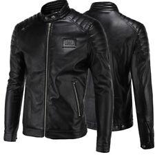 Men's Fashion Large Size Simple Motorcycle Collar Leather Coat Jacket