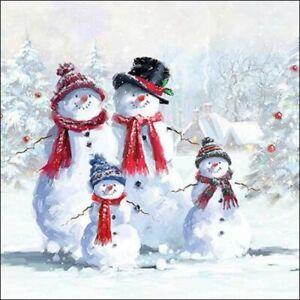 4 x Single Paper Table Napkin/Decoupage/Napkin Art/Christmas/Snowmen in Hats