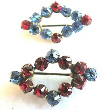 Vtg Antique Set Rhinestone C Clasp Brooches~Pins Red Blue Victorian Collar Pins