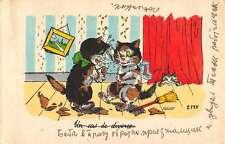 Kitty Cat Kittens Ribbons Messy House Scene Antique Postcard K61287
