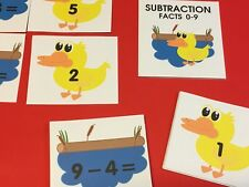 DUCK & POND - Subtraction Facts 0-9 Matching Game 48 Cards