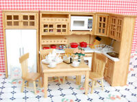 Dolls House Kitchen Rooms Mini Wooden Furniture Kit Porcelain Tea Set 1/12