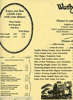 Older Restaurant Menu - Wuthering Heights - Nice Condition