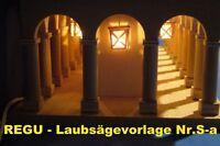 "REGU - Laubsägevorlage - SOCKELBANK ""Säulengang Classic"" für  Schwibbögen S-a56"
