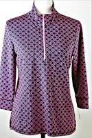 T by Talbots Navy & Pink Daisy On the Move Half Zip Pullover UPF 50+ Women's PM