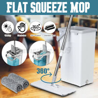Flat Squeeze Mop Bucket Free Washing Self Cleaning Tool Microfiber Pads Set