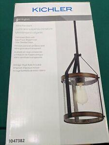 Kichler Barrington Black and Wood Rustic Mini Pendant Light