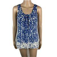 Banana Republic Silk Sleeveless Blouse Leaf Top Blue White Tank Women's Size XS