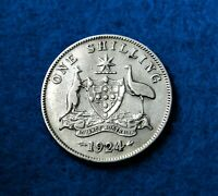 1924 Australia Shilling - Great Silver Coin - Rare w/Low Mint - See PICS