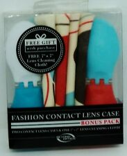 2 Fashion Contact Lens Cases White & Blue / Blue & Red 1 Lens Cleaning Cloth NIP