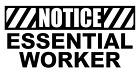 NOTICE ESSENTIAL WORkER Vinyl Decal, Bumper Sticker, Virus, Funny, 19, COVID etc