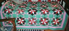 """Canadian Amish CARPENTER'S STARS Quilt c. 1920,  78"""" x 78"""". made for sale"""