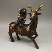 """8"""" Chinese old Antique bronze gilt fengshui Sika Deer Monkey statue"""